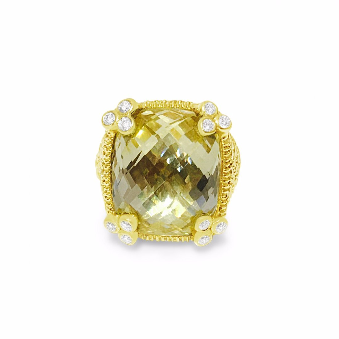 18K Gold, 25 CT Natural Yellow Stone and Diamond Ring - 3