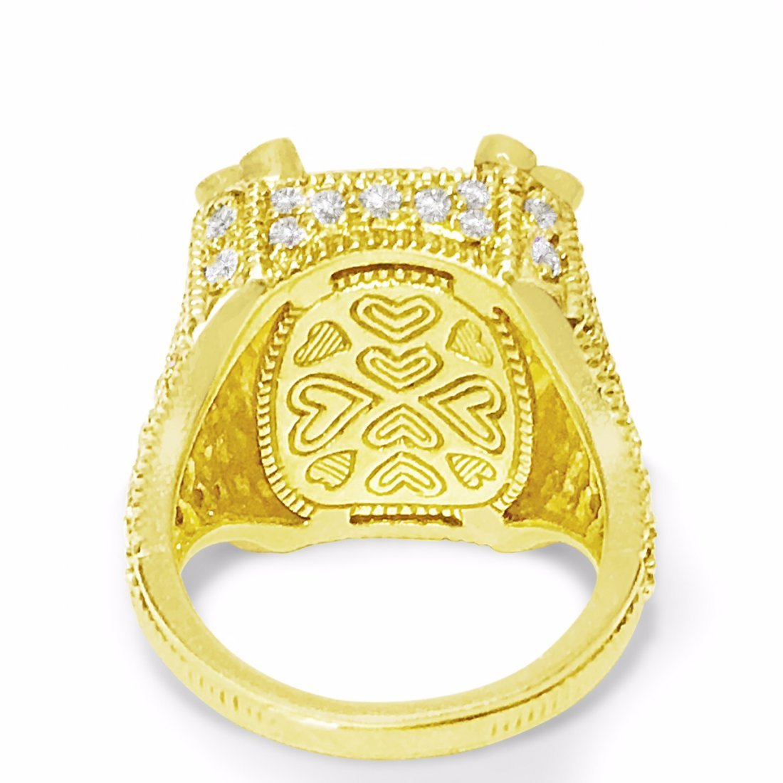 18K Gold, 25 CT Natural Yellow Stone and Diamond Ring - 4