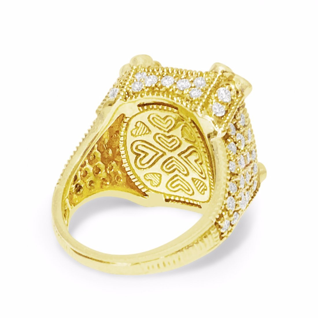 18K Gold, 25 CT Natural Yellow Stone and Diamond Ring - 5