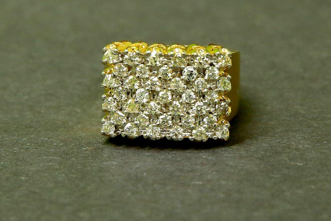 14k Yellow Gold, White Diamond Ring
