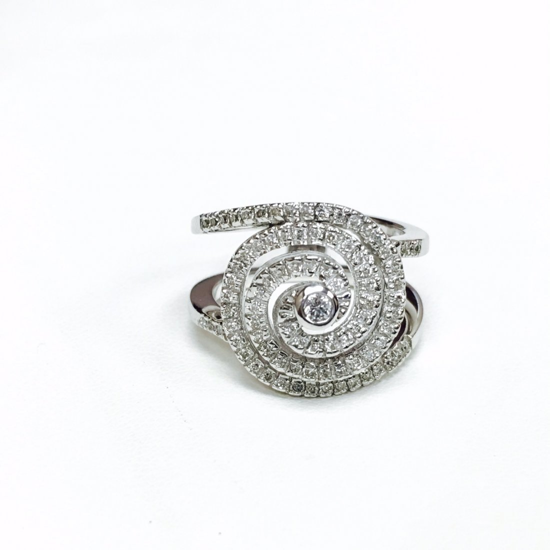14k White Gold, 1.00 CT Diamond Swirl Ring