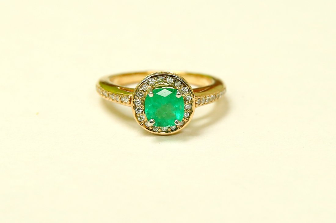14k Gold Colombian Emerald And Diamond Engagement Ring