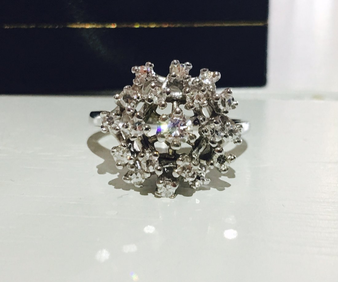 14K White Gold, 1.00ct Diamond Cocktail Ring