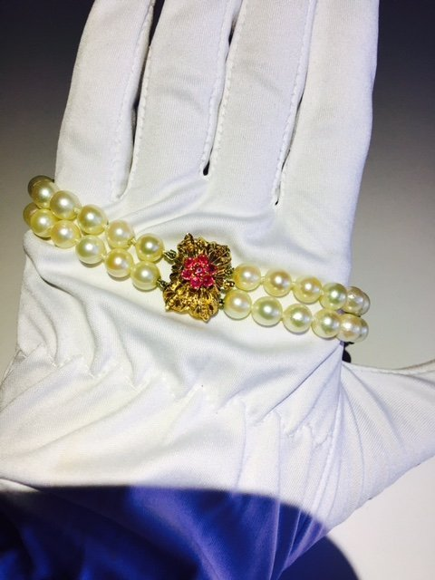 18K, Natural South Sea Pearl and Burma Ruby Bracelet