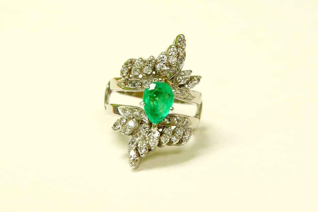14K Gold, 5.50 Carat Colombian Emerald and Diamond Ring