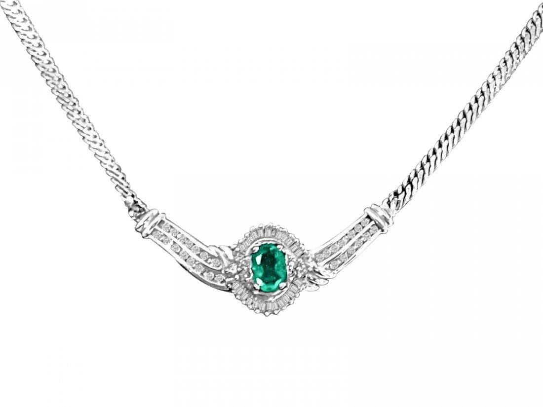 14K vintage 4.10 carat Diamond And Emerald Necklace