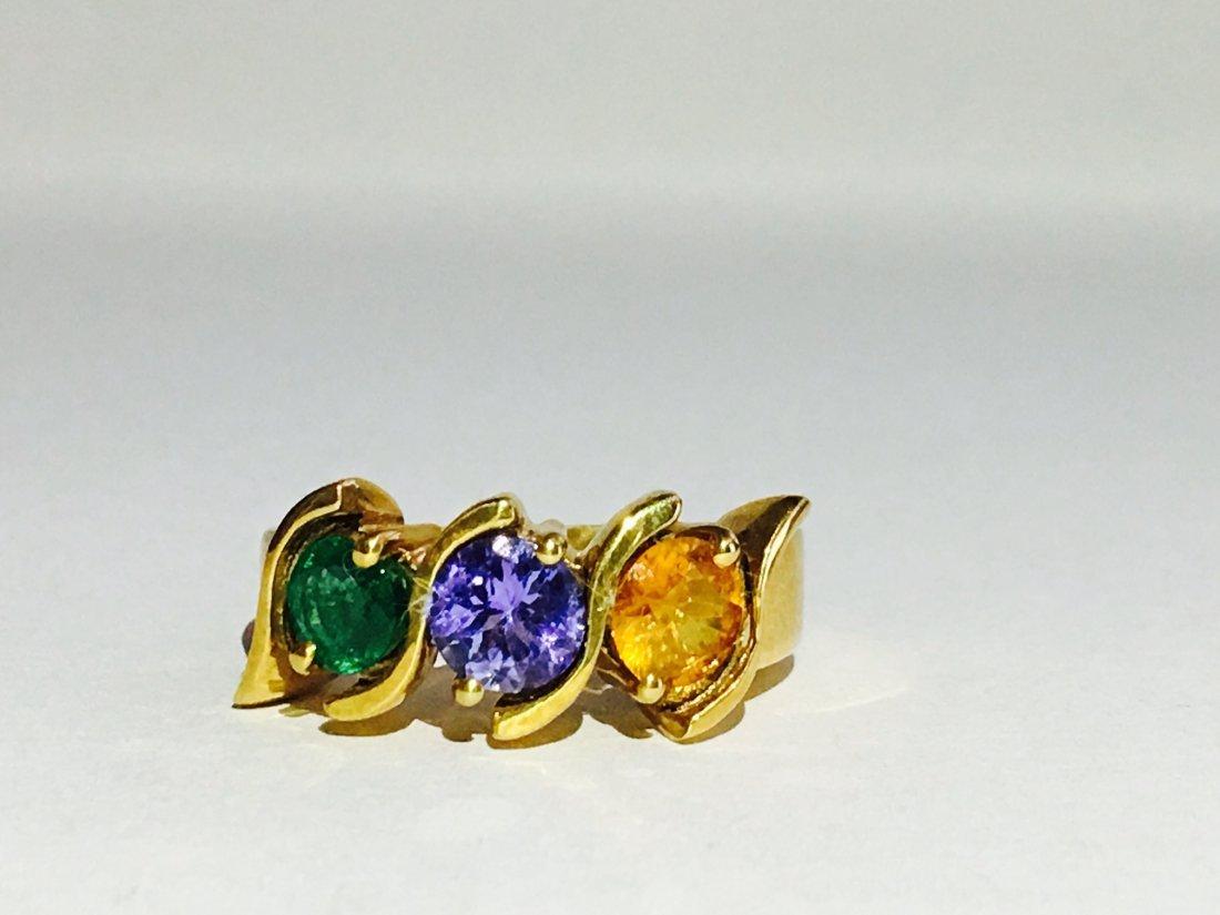 18k; Yellow Sapphire, Tanzanite, Colombian Emerald Ring