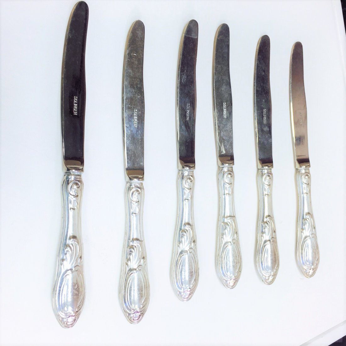 "Antique ""800"" Sterling Silver Solingen Knife Set (5 PC)"