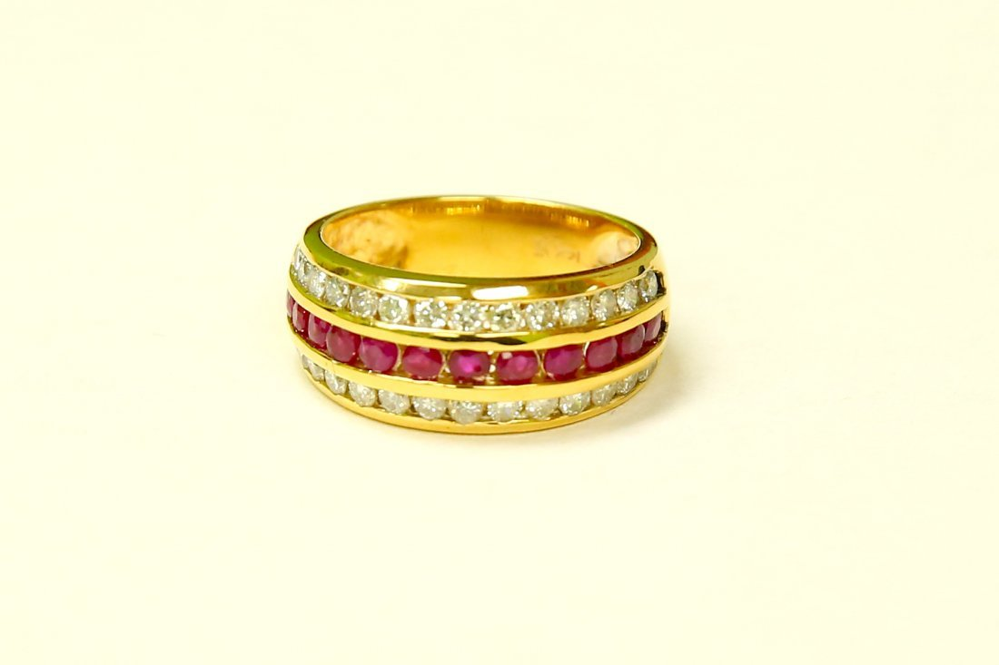 14k Yellow Gold, 2.25ct Diamond and Burma Ruby Ring.