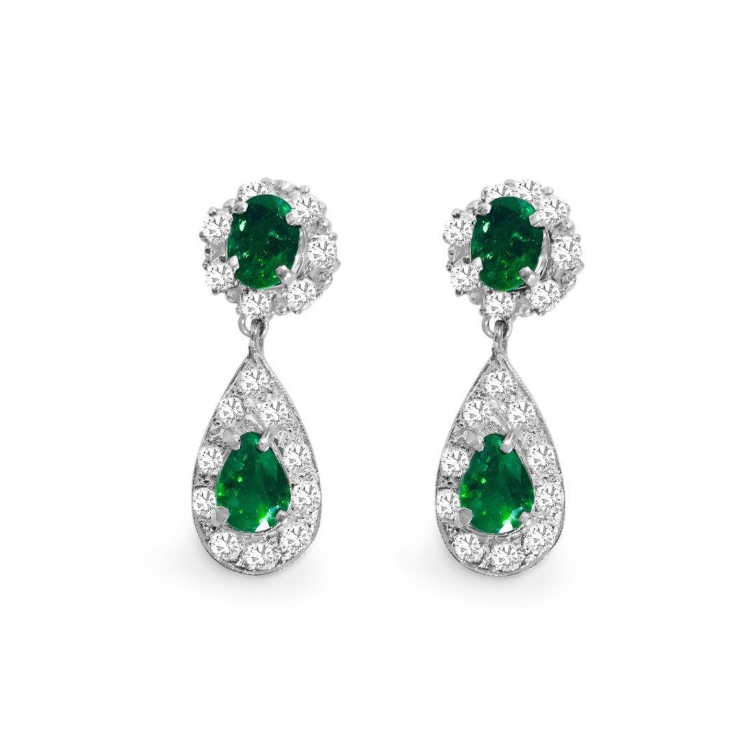18k Gold, 10 CARAT Diamond & Colombian Emerald earrings