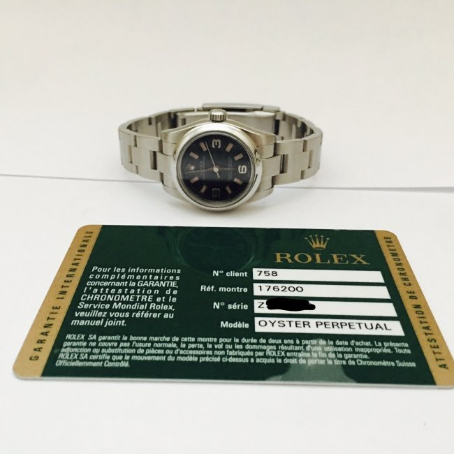 Rolex Oyster Perpetual Ladies Black Arabic Dial