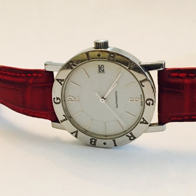 BVLGARI Watch with Crimson Leather Belt