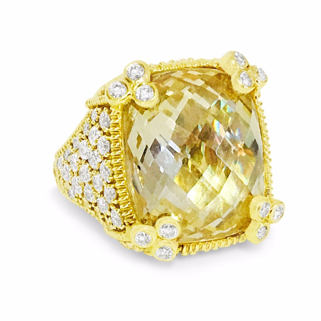 Judith Ripka 18K Gold Natural Diamond Cocktail Ring
