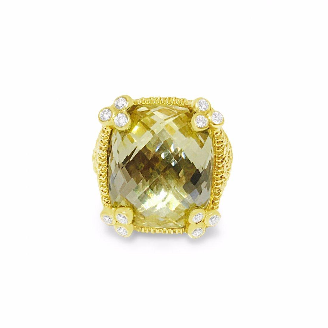 Judith Ripka 18K Gold Natural Diamond Cocktail Ring - 3