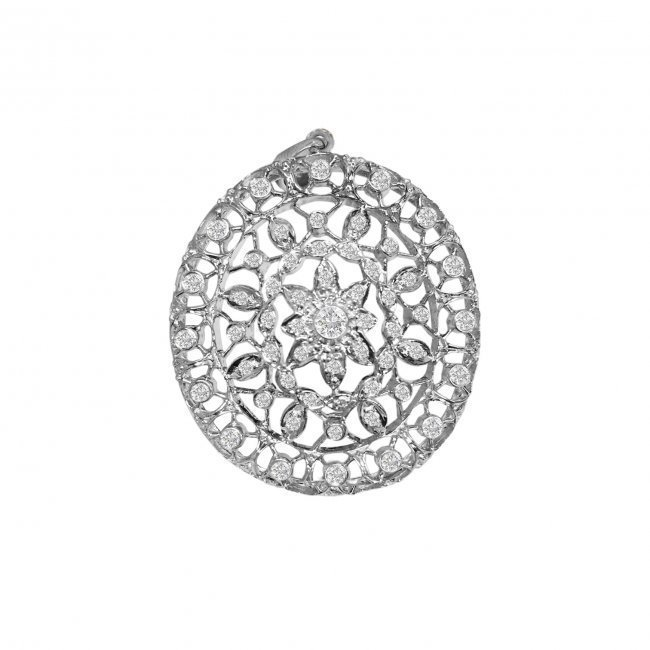 18k Vintage HandMade 1.5 ct Diamond Pendant Certified