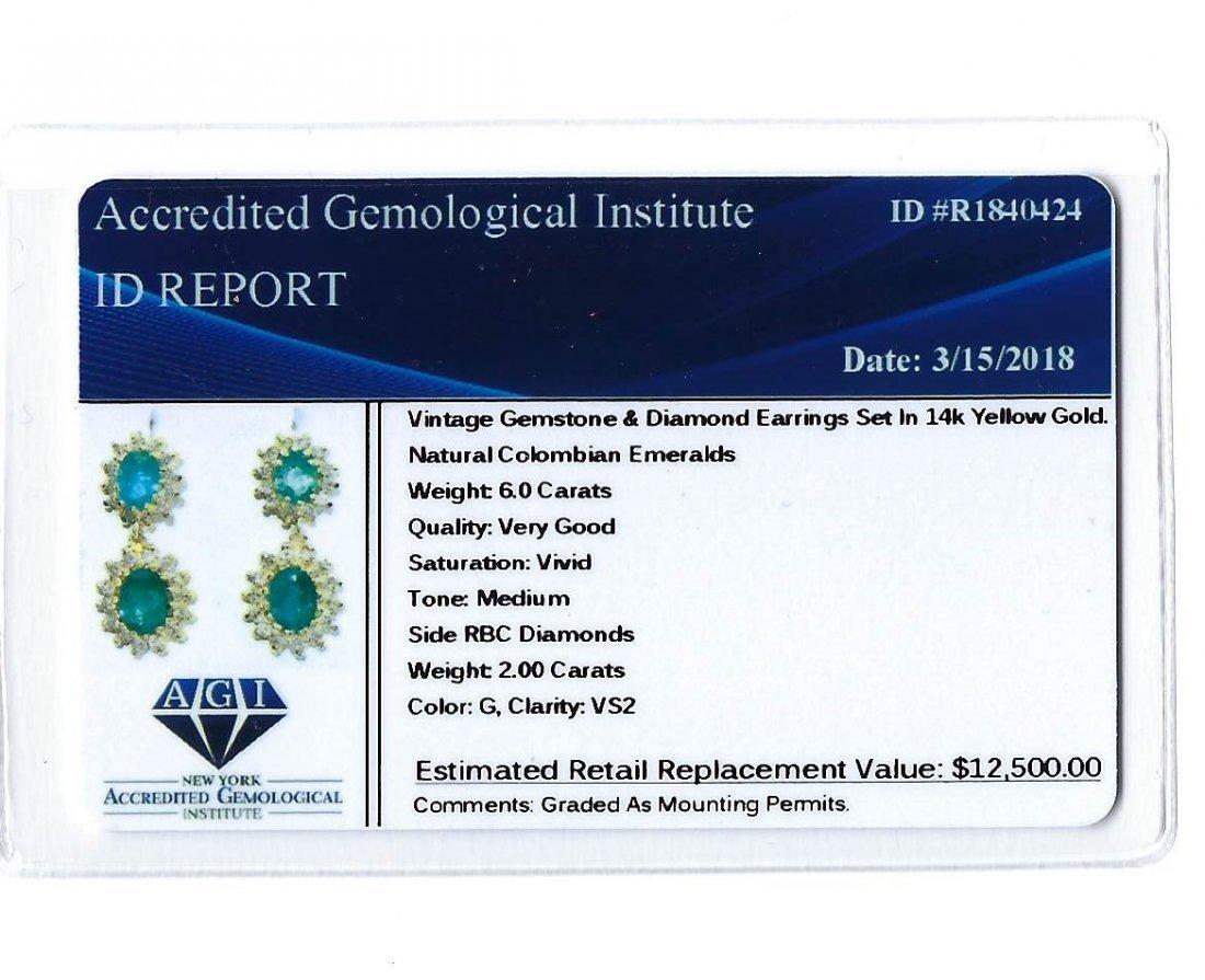 14K Gold 8 ct Emerald & VS Diamond Earring. $12,500 GIA - 4