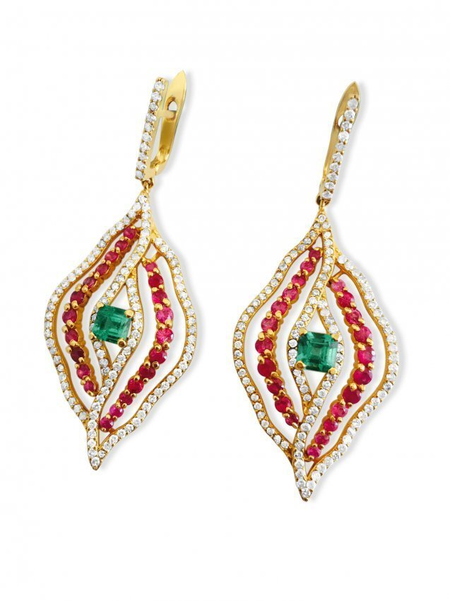 14k Gold 6 ct Diamond Emerald and Ruby Earrings