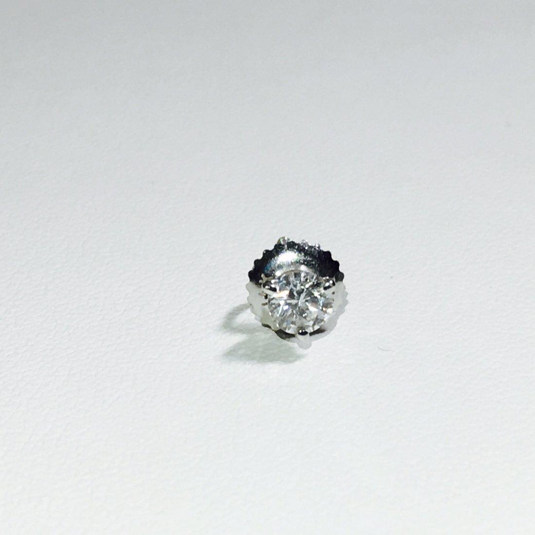 14K White Gold and Diamond Stud. Unique Design