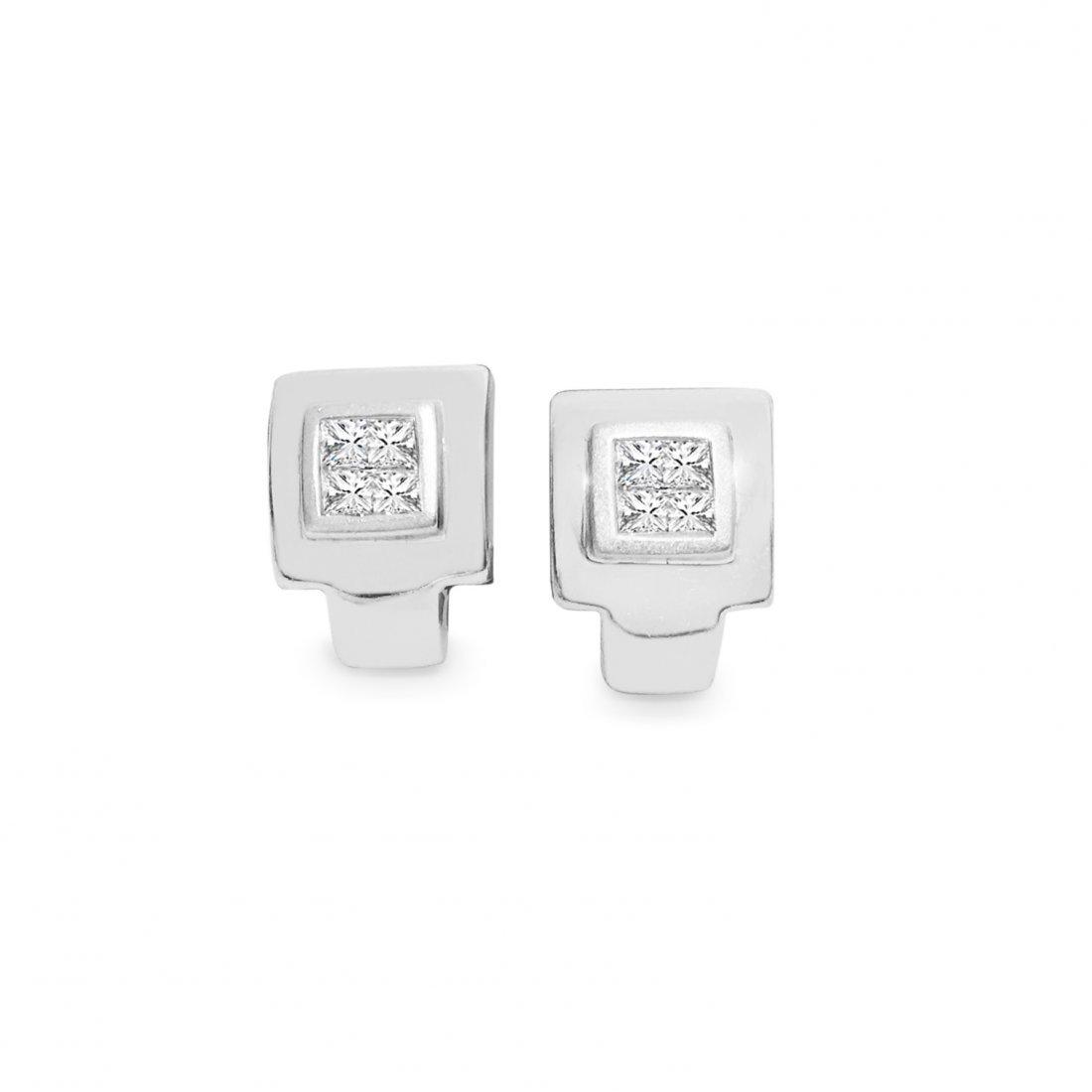 Princess Cut Diamond Earrings. 14K White Gold.