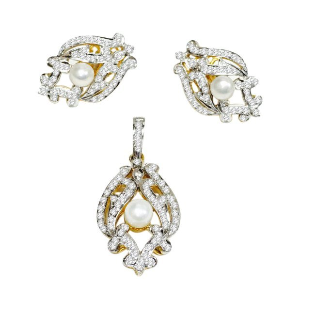18k Gold, Pearl and Diamond; Pendant and Earring Set