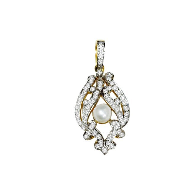 18k Gold, Pearl and Diamond; Pendant and Earring Set - 2