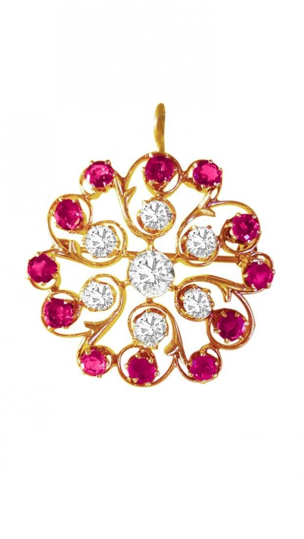 Antique European; 3.70 Ct Diamond and Ruby Pin. (GIA)