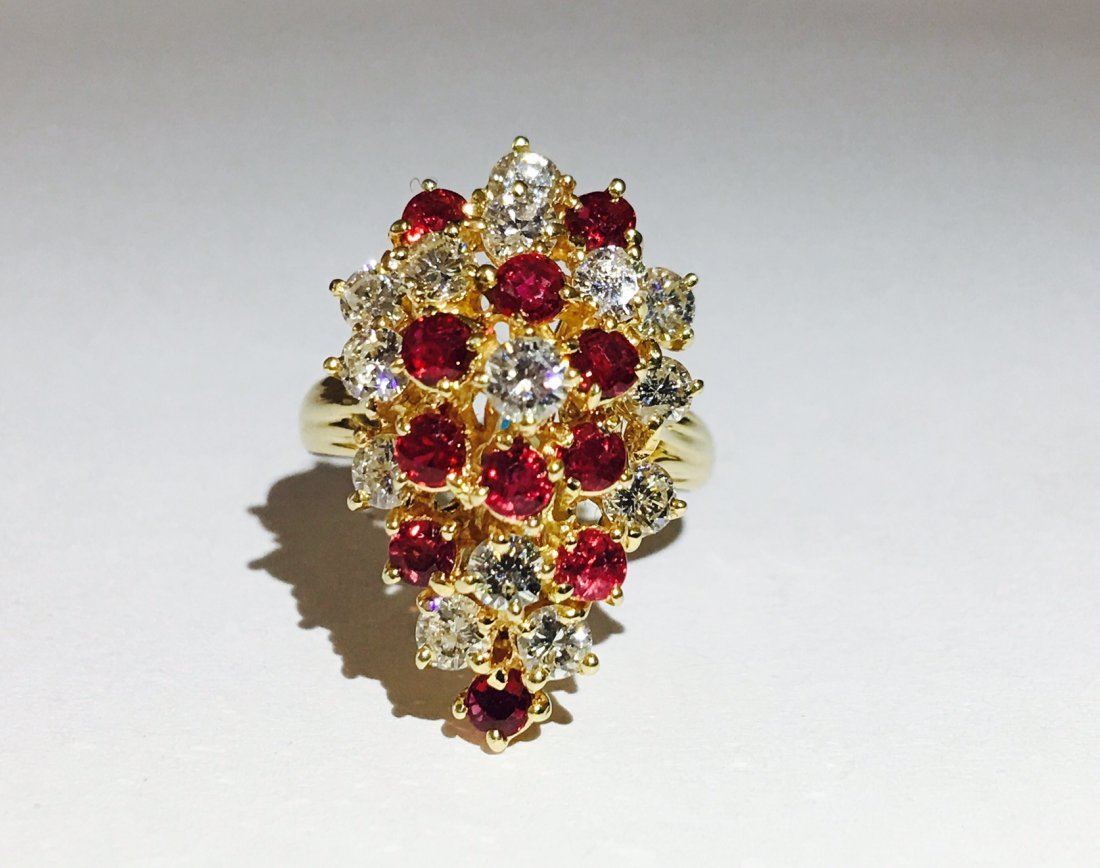 14K Gold, Cocktail RUBY& DIAMOND Ring