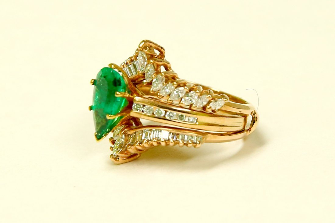 14k Gold 5.00 CARAT Diamond & EMERALD Engagement Ring - 4