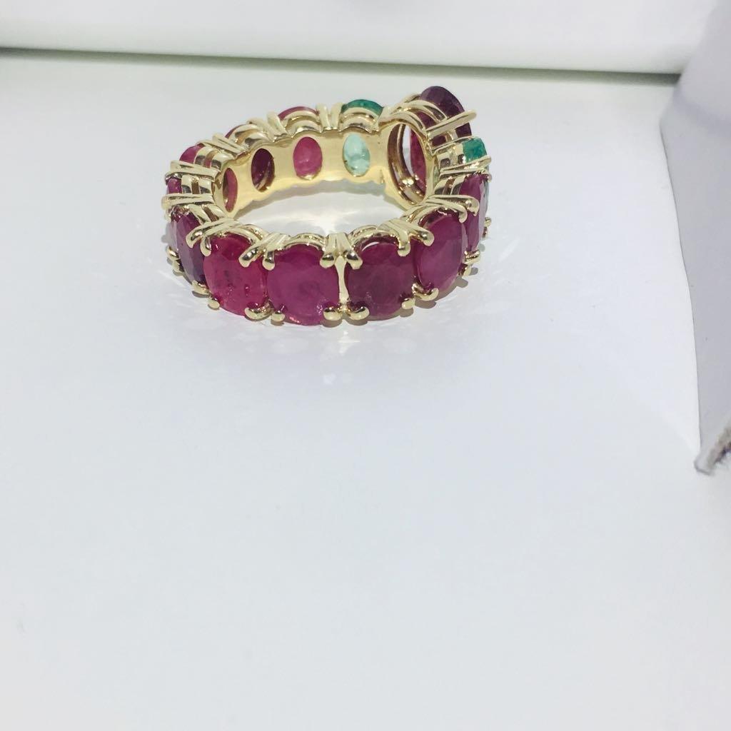12.70 TCW ruby & emerald gemstone; 14k gold ring - 6