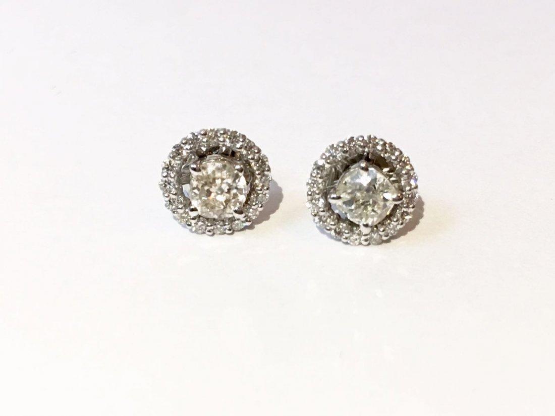14K Gold, 1.30 TCW old mine cut diamond stud earrings - 2