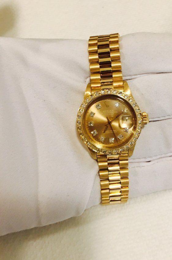 Rolex PRESIDENT Ladies 18K Diamond DIAL And Bezel