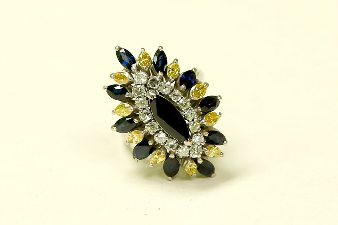 18k Diamond Blue Sapphire & Yellow Diamond Vintage RING