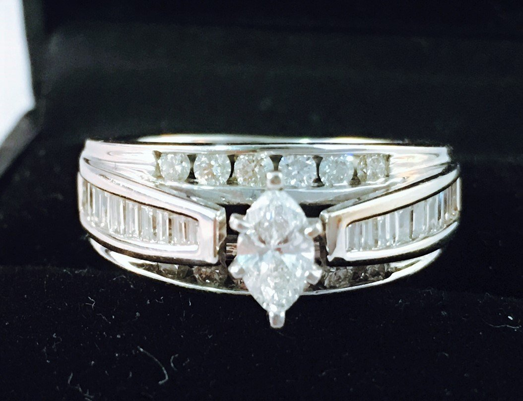 14K White Gold and Marquise Diamond Engagement Ring