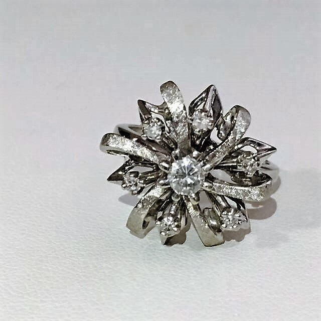 14K White Gold Cocktail Diamond Ring