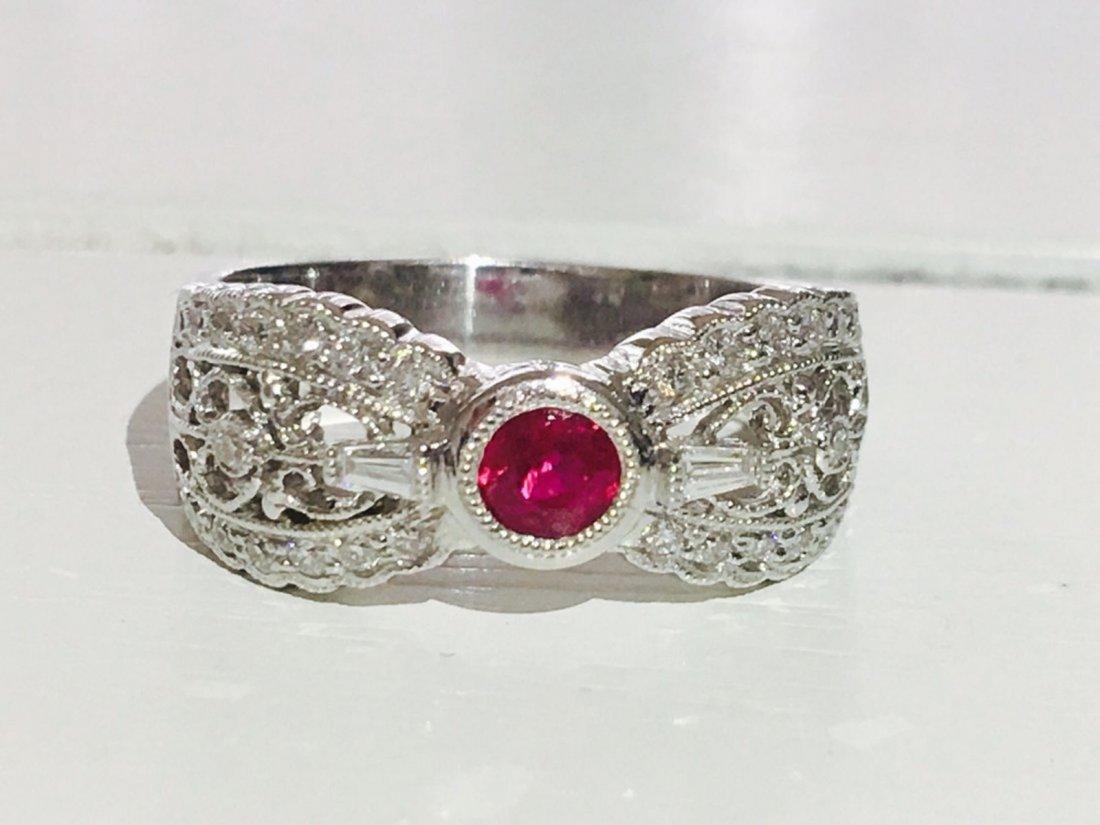 Diamond Platinum and No Heat Ruby Ring