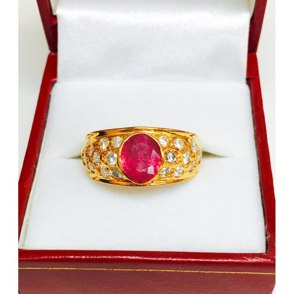 "18k Yellow Gold, ""No Heat Ruby"" and Diamond Ring"