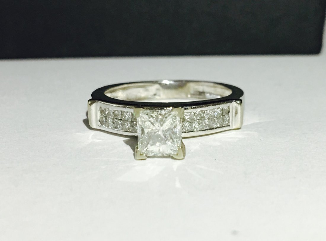 14k White Gold Princess Cut Diamond Ring
