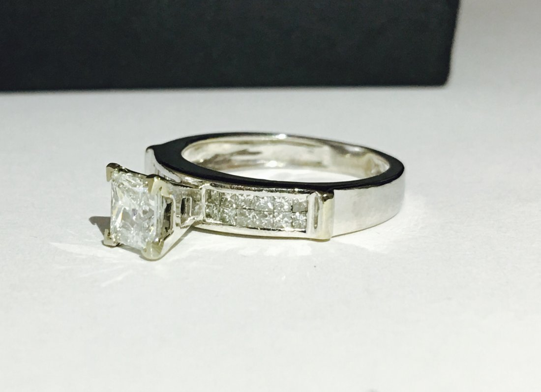 14k White Gold Princess Cut Diamond Ring - 2