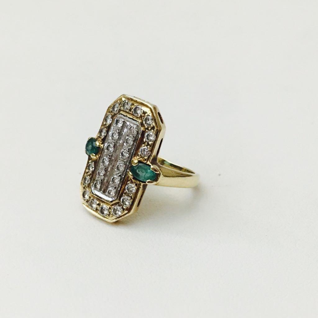 14K gold, 2.20 Carat Diamond and Emerald vintage ring. - 2