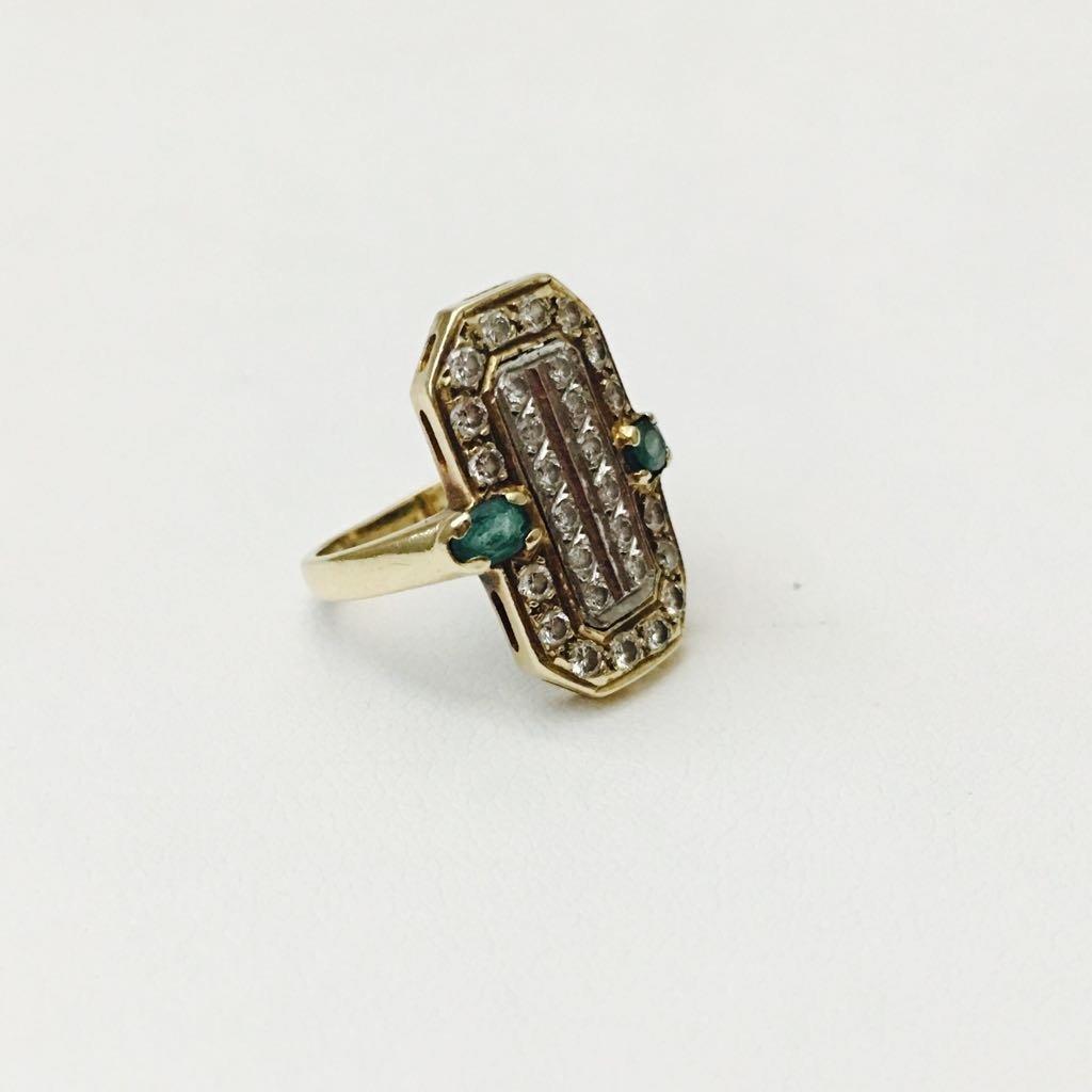 14K gold, 2.20 Carat Diamond and Emerald vintage ring. - 3