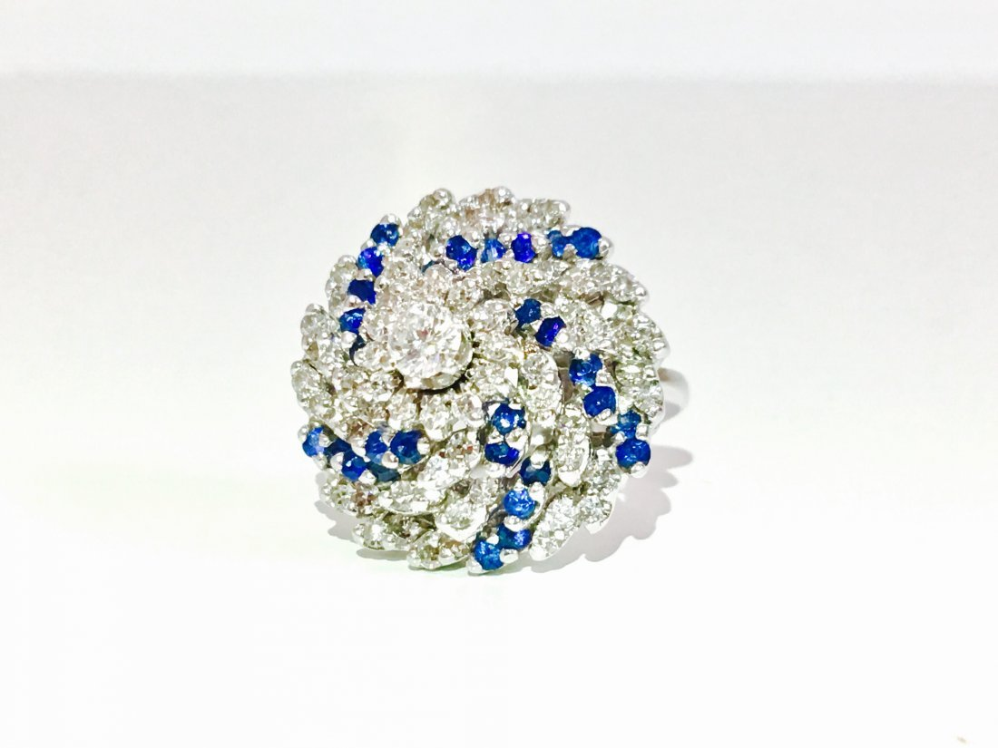 14K, 3.00 CT Diamond and Blue Sapphire Cocktail Ring - 2