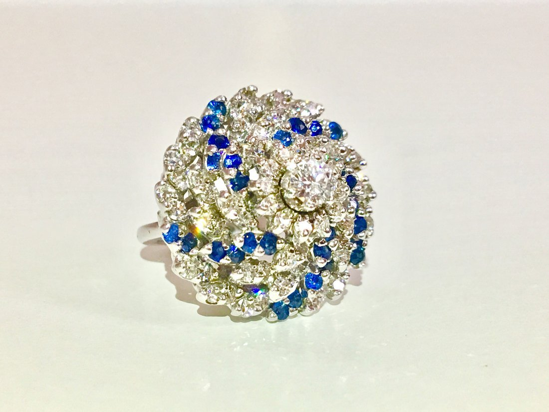 14K, 3.00 CT Diamond and Blue Sapphire Cocktail Ring - 3