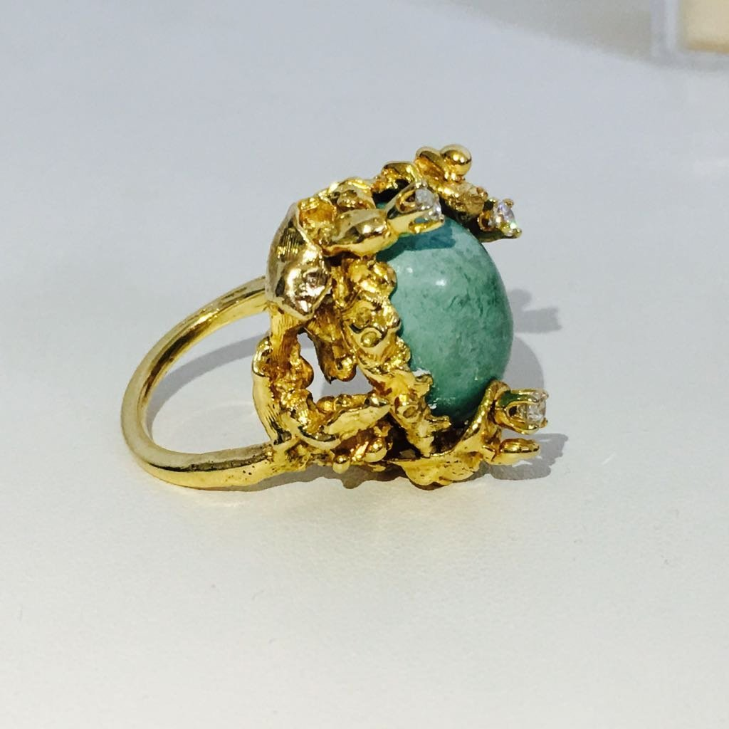 Vintage 14K Gold, Vintage Turqoise and Diamond Ring - 3