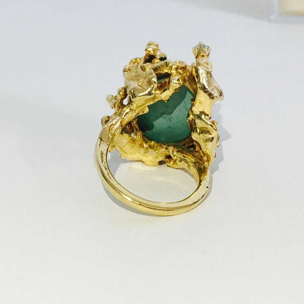 Vintage 14K Gold, Vintage Turqoise and Diamond Ring - 4