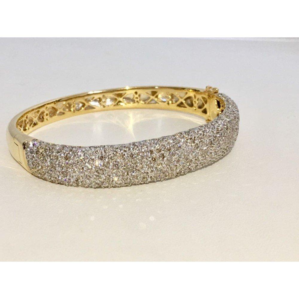 18K Yellow Gold, 6CT White VS/G Diamond Bracelet - 2