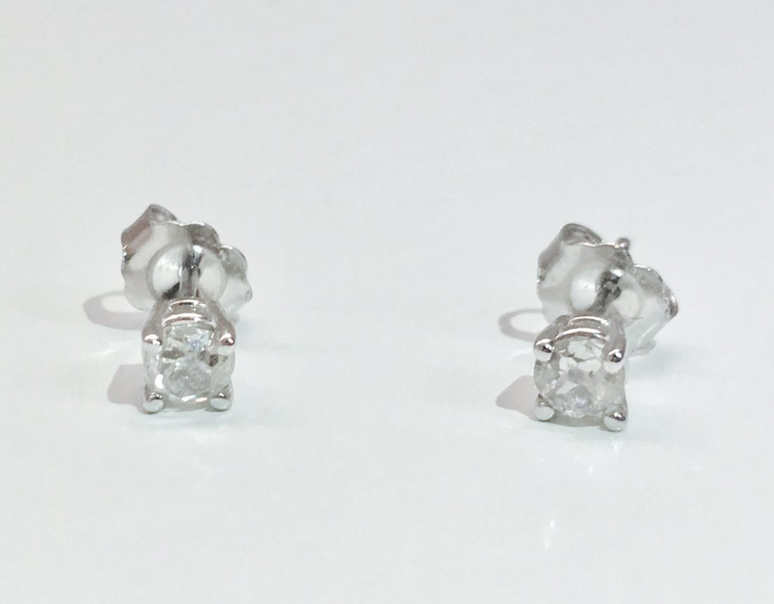 14K white gold, 0.50 CT old mind diamond earrings/studs