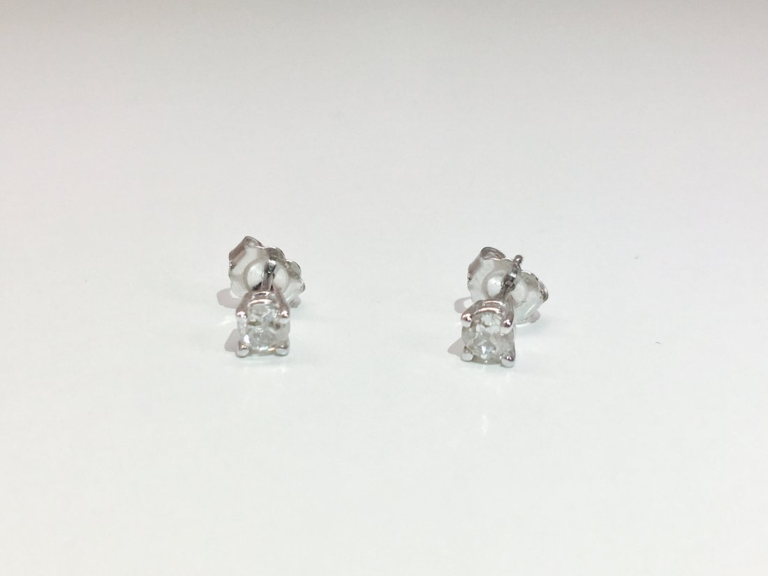 14K white gold, 0.50 CT old mind diamond earrings/studs - 2
