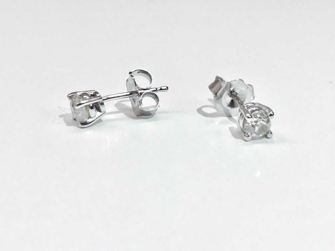 14K white gold, 0.50 CT old mind diamond earrings/studs - 3