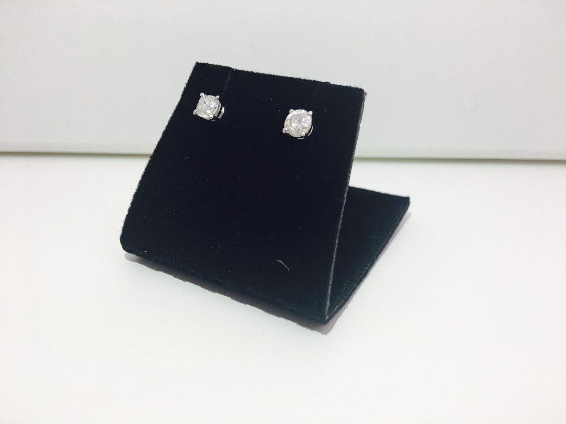 14K white gold, 0.80 Ct old mine diamond earrings/stud - 4