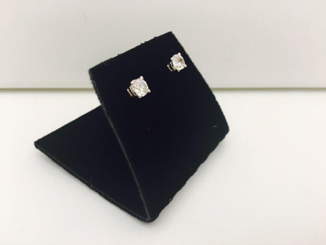 14K white gold, 0.80 Ct old mine diamond earrings/stud - 5